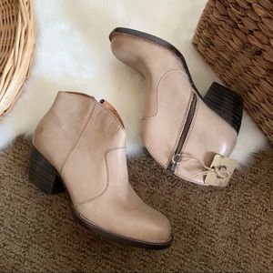 Born nude leather staked heel ankle booties